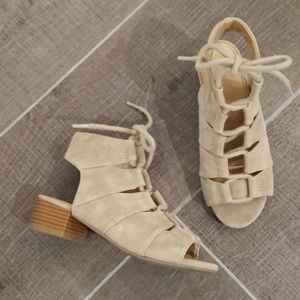 Girl's lace up block heel sandal